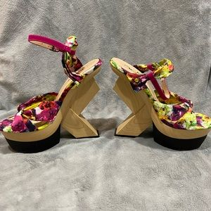Funky chunky flowered heels